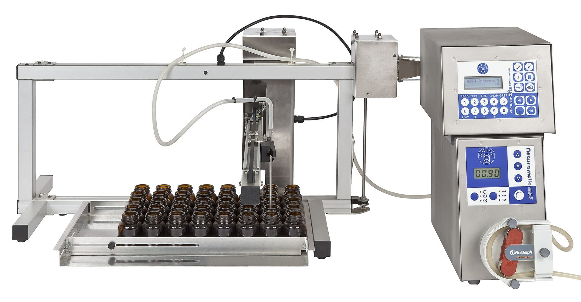 Accuramatic Peristaltic and XYZ Distributor Bottle and Vial Filling Machine